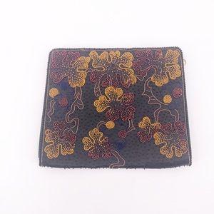 Vintage Beaded Black Clutch Floral Design